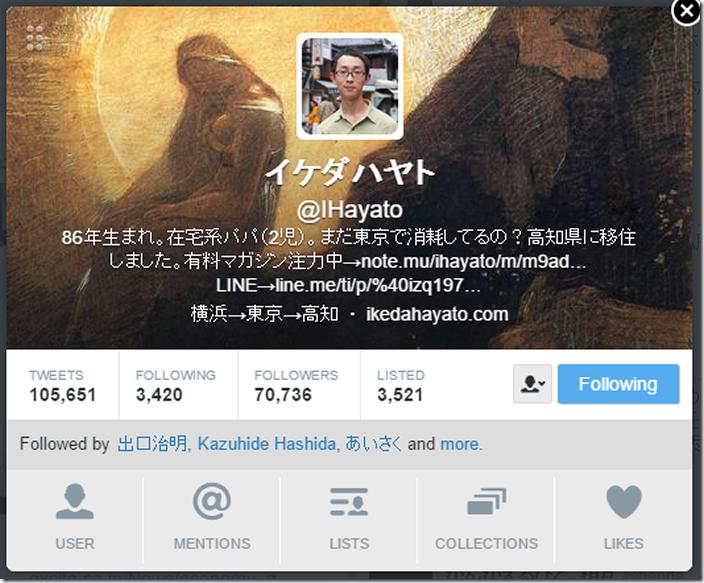 イケダハヤトさんのツイッターアカウント
